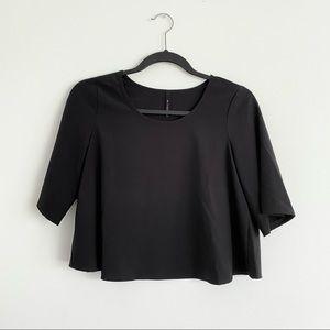 B Jewel Boxy Wide Sleeve Crop Top Black Size XS